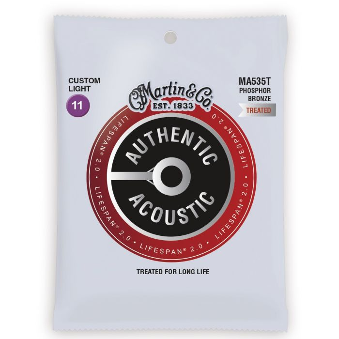 Martin Authentic Acoustic Lifespan 2.0 Phosphor Bronze Custom Light Guitar Strings
