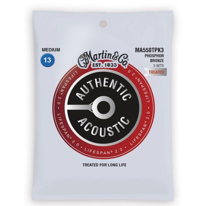 Martin Authentic Acoustic Lifespan 2.0 Phosphor Bronze Medium Guitar Strings 3-Pack