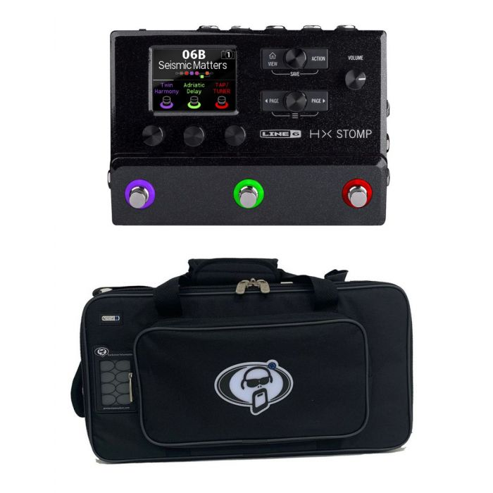 Full view of a Line 6 Helix Stomp Effects Pedal with Free Rigid Case