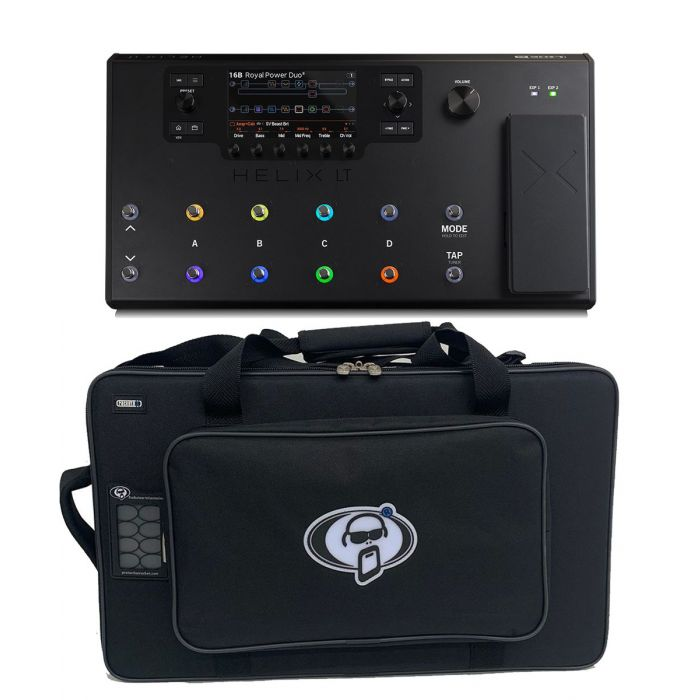 Full view of a Line 6 Helix LT Effects Processor with Free Soft Case