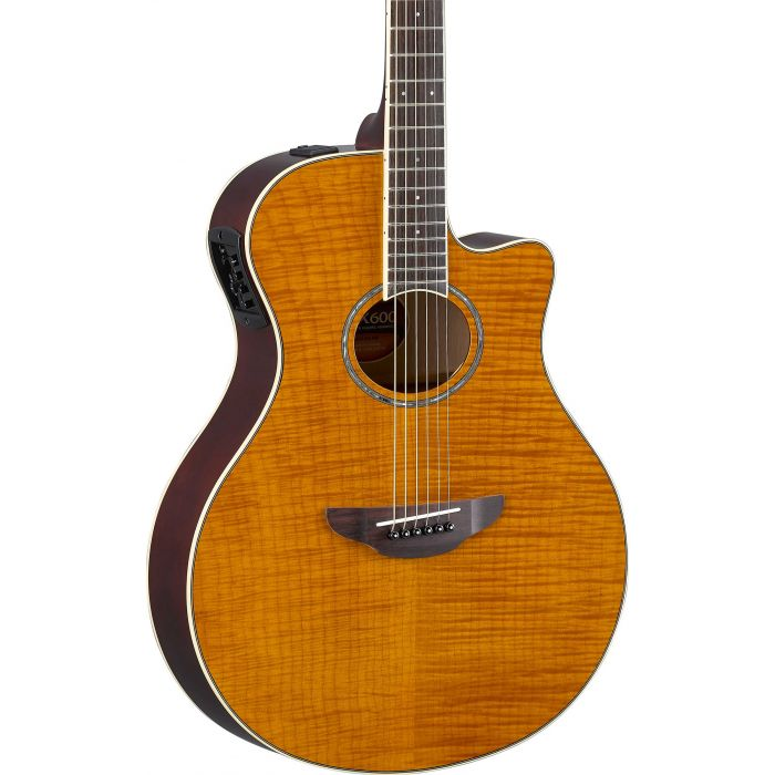 Yamaha APX600 Flame Maple Top Amber Body
