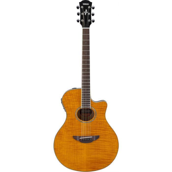 Yamaha APX600 Flame Maple Top Amber Front