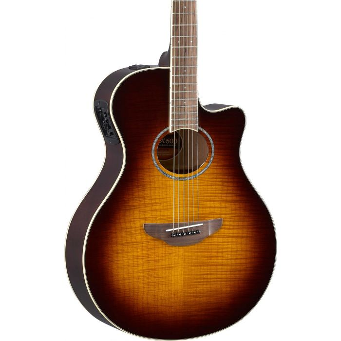 Yamaha APX600 Flame Maple Top Tobacco Brown Sunburst Body