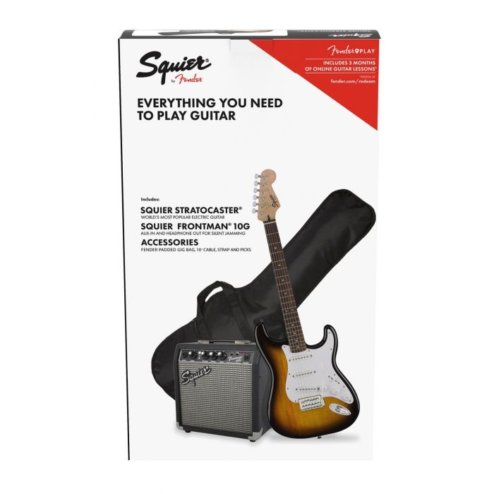 Squier Stratocaster Electric Guitar Starter Pack Brown Sunburst