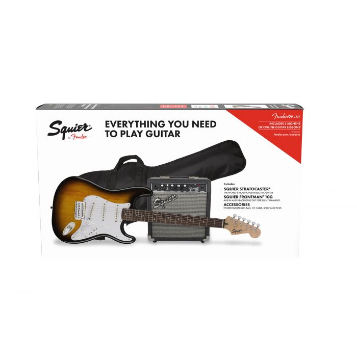 Squier Stratocaster Electric Guitar Starter Pack Brown Sunburst Box