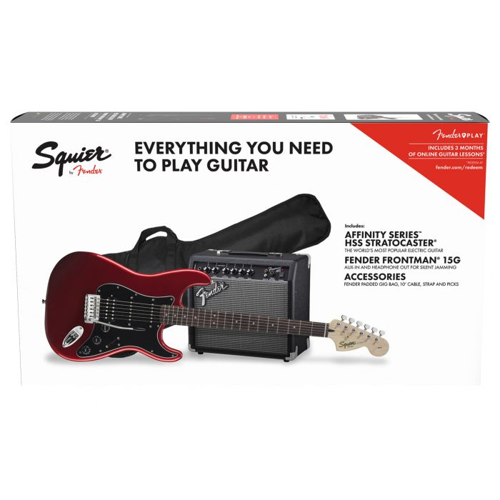 Squier Affinity Series Stratocaster HSS Pack LFb Candy Apple Red bundle 2