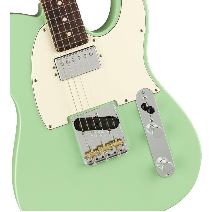 Fender American Performer Telecaster Hum RW Satin Surf Green Bridge and Pickups