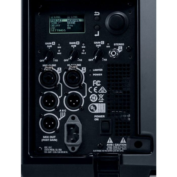 QSC K12.2 Active PA Loudspeaker Rear Panel