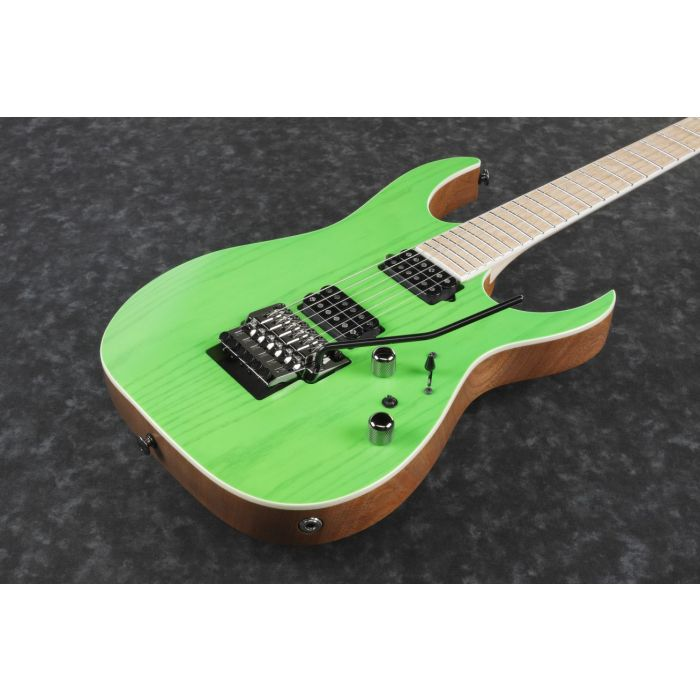 Ibanez RGR5220M Electric Guitar Transparent Fluorescent Green front angle