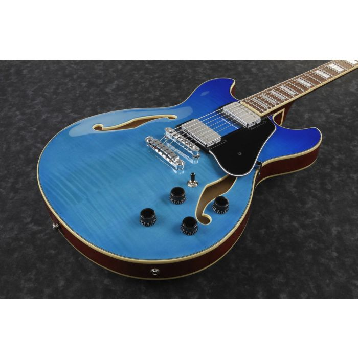 Ibanez Artcore Semi-Hollow AS73 Azure Blue Gradation front angle