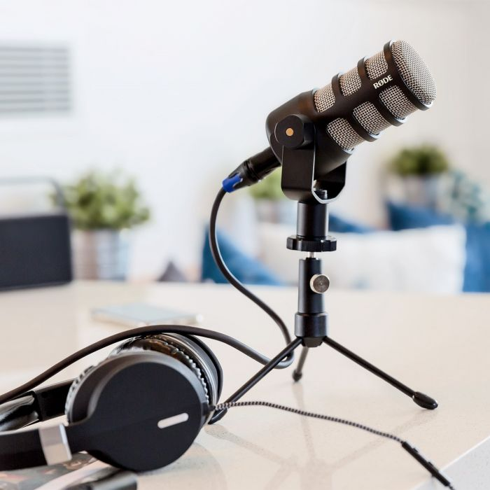 Rode PodMic Dynamic Podcast Microphone On Desk