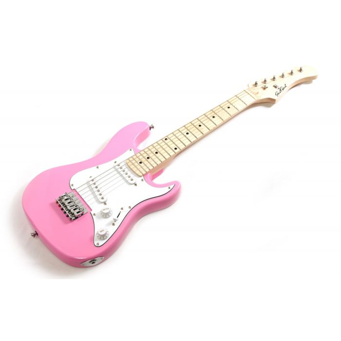 Eastcoast GK20 3/4 Electric Guitar, Pink Angle