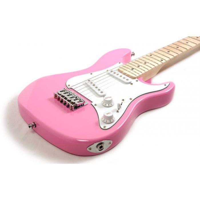 Eastcoast GK20 3/4 Electric Guitar, Pink Body Angle