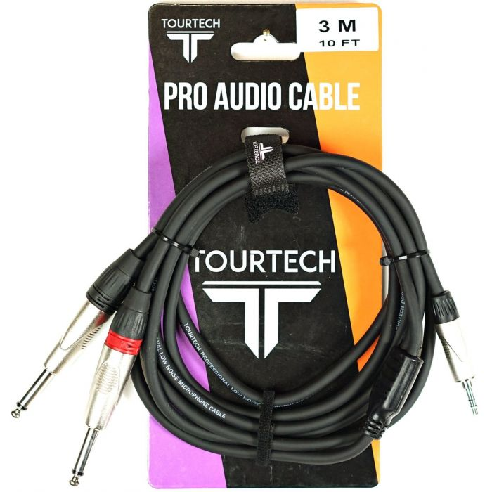 TOURTECH 10ft N-Series Deluxe Split Mini Stereo to Mono Audio Cable Packaging