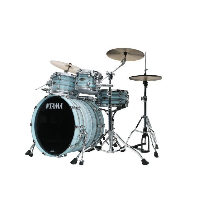 Tama Starclassic Walnut Birch 5pc Drum Shell Pack Lacquer Arctic Blue Oyster Angle