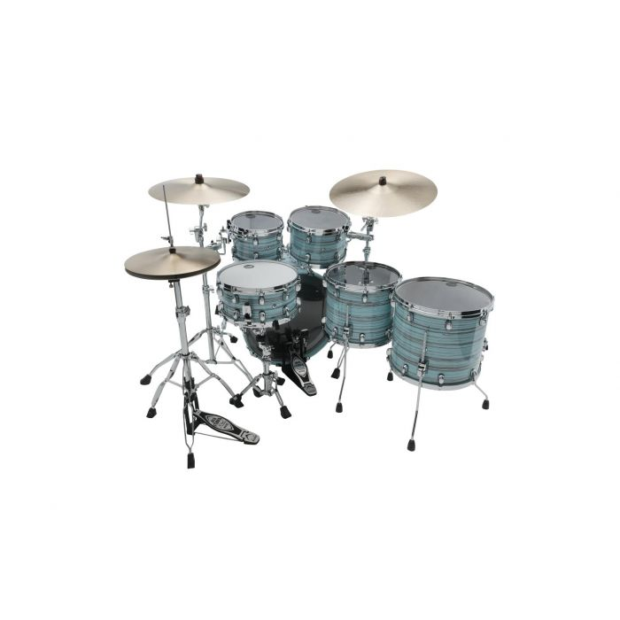 Tama Starclassic Walnut Birch 5pc Drum Shell Pack Lacquer Arctic Blue Oyster Rear