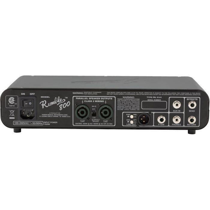 Fender Rumble 800 HD Bass Amplifier Head Back