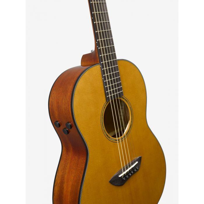 Yamaha CSF-TA TransAcoustic Parlour Guitar Angle