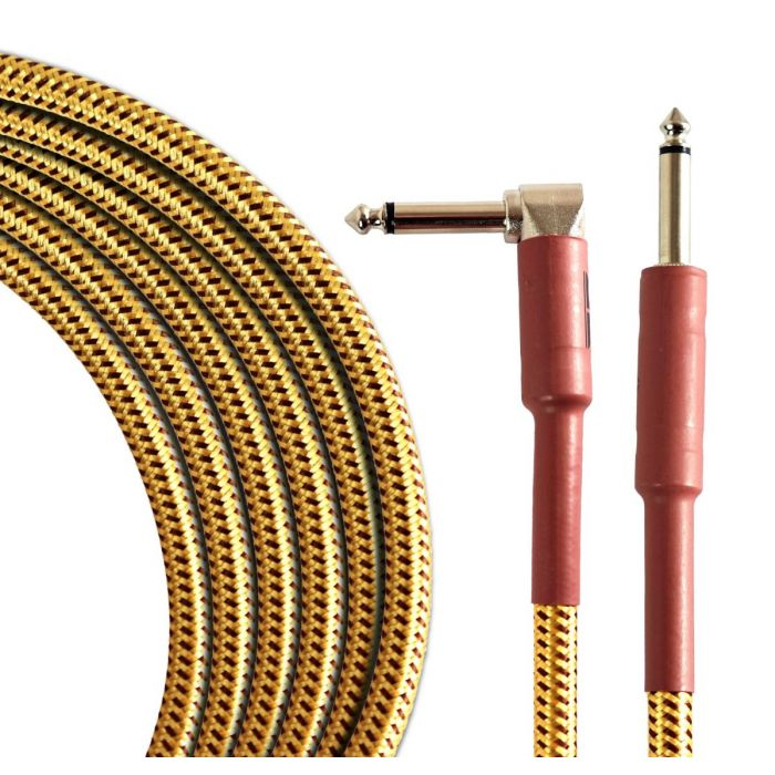 Coiled view of a TOURTECH Pro Straight to Angled Braided Tweed 10ft Guitar Cable