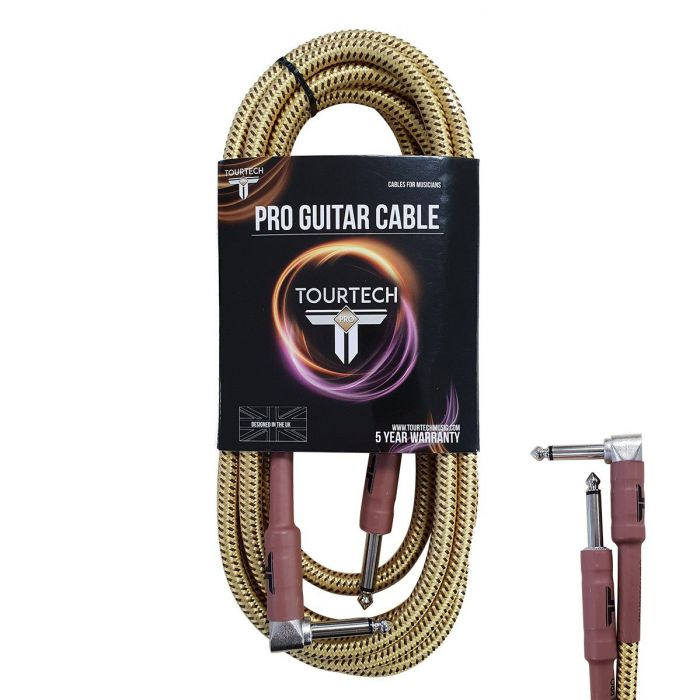 TOURTECH Pro Straight to Angled Braided Tweed 10ft Guitar Cable