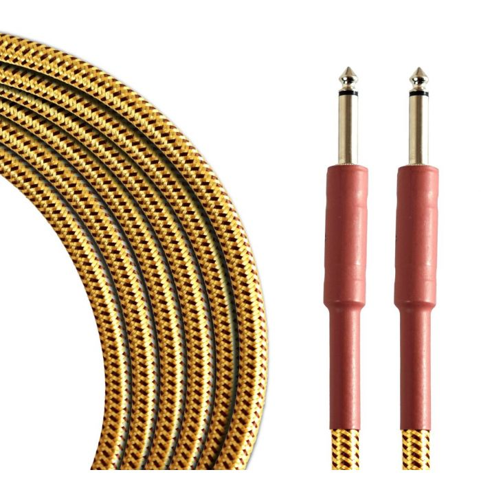 Coiled view of a TOURTECH Pro Braided Tweed 10ft Guitar Cable