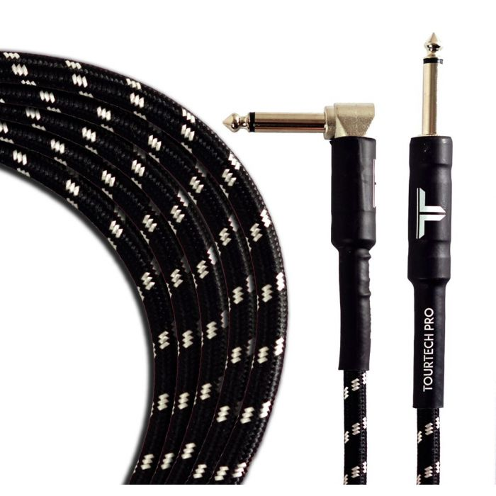 Coiled view of a TOURTECH Pro Straight to Angled Braided Black and Grey 10ft Guitar Cable