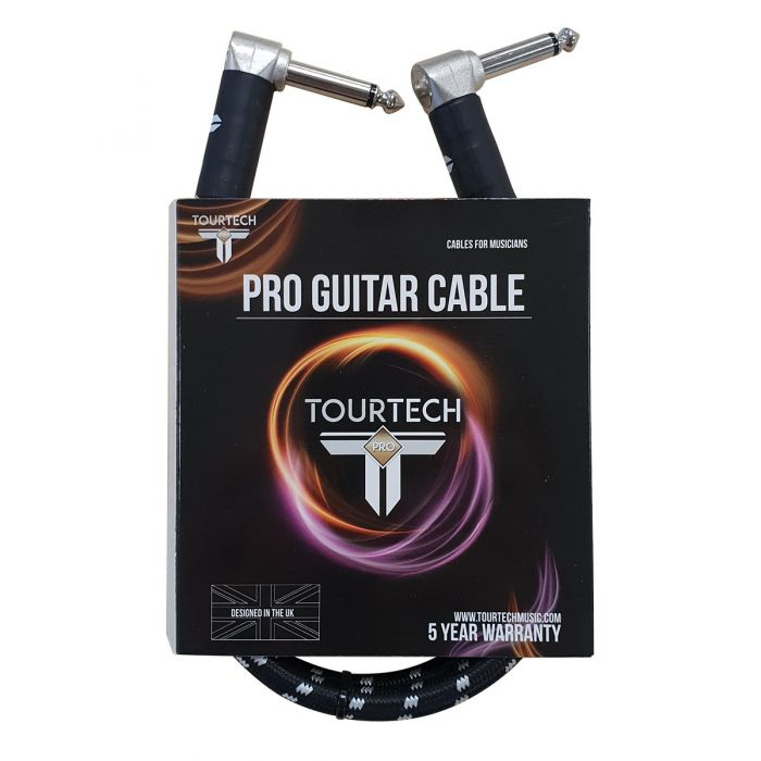 TOURTECH Pro Angled Braided Black and Grey 2ft Guitar Cable