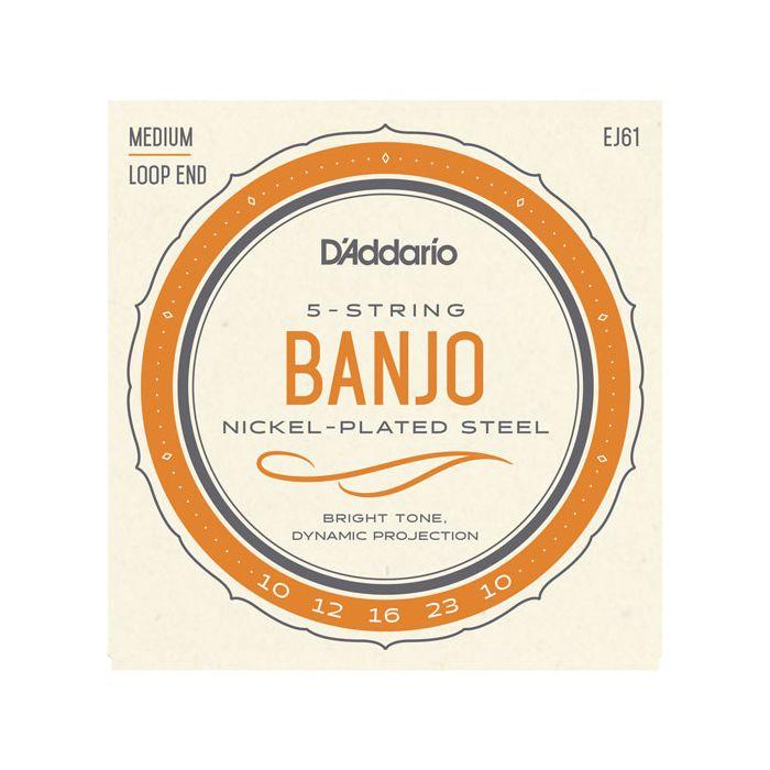 D'Addario EJ61 Medium 5-String Banjo Strings 10-23