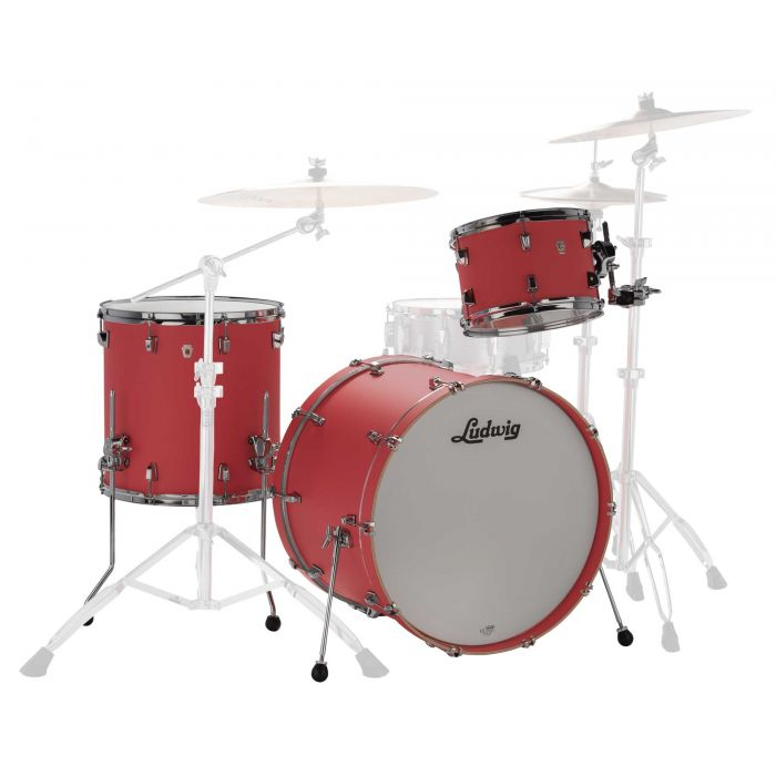 """Ludwig NeuSonic 22"""" 3 Piece Shell Pack in Coral Red"""