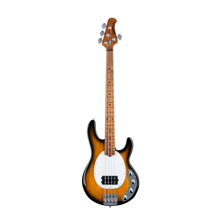 Front view of Music Man StingRay Special bass in Vintage Toacco Sunburst with a roasted maple fretboard