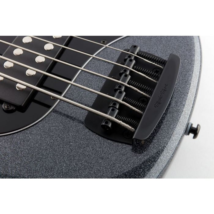 Closeup image of the newly designed bridge on a StingRay Special 5-string bass