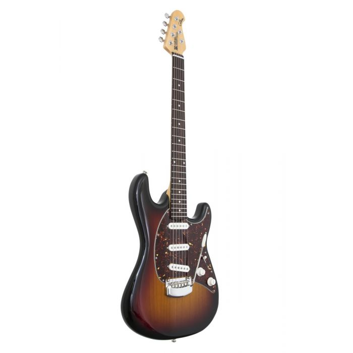 tilted angle view of Music Man Cutlass guitar in a Vintage Sunburst finish