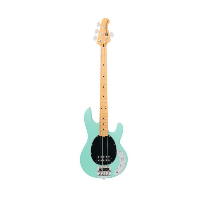 Front view of Music Man StingRay Old Smoothie Bass in Mint Green