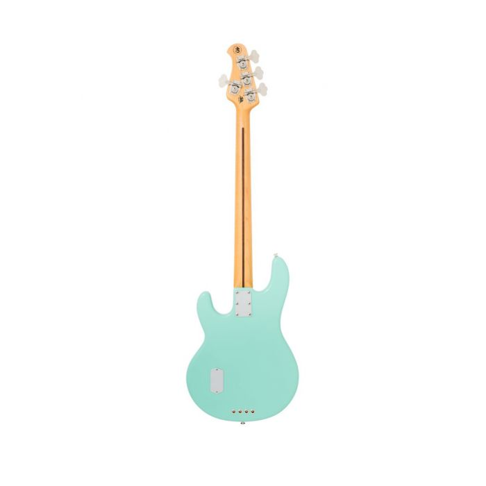 Rear view of a Mint Green Music Man StingRay Old Smoothie bass guitar