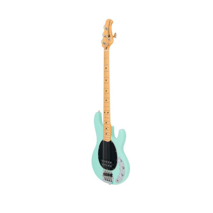 Mint Green Music Man Old Smoothie Bass guitar seen from a tilted angle