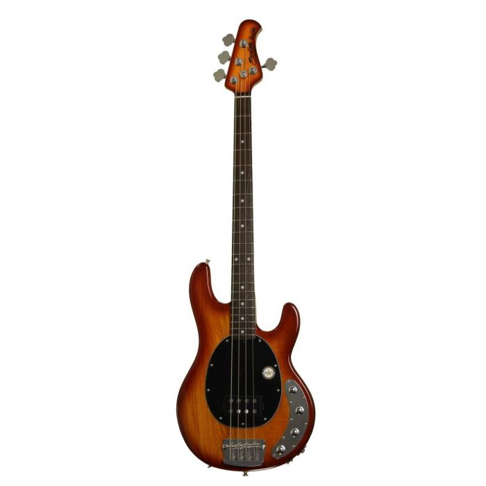 Front view of an affordable Sterling by Music Man Ray34 StingRay bass with a Honeyburst finish