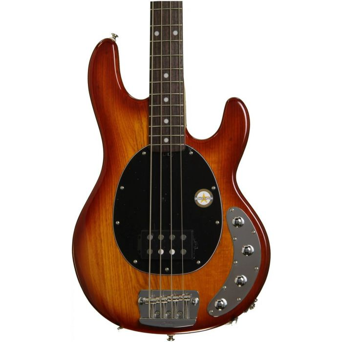 Closeup view of a Honeyburst Sterling Ray34 bass