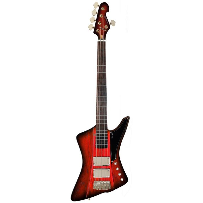 full view of a Sandberg Forty Eight style 5-string bass guitar in a matt redburst finish with matching headstock