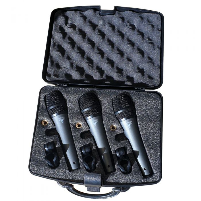 Three TOURTECH VM50 microphones in carry case