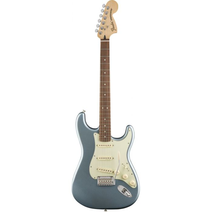 Front view of a Fender Deluxe Roadhouse Stratocaster in Mystic Ice Blue