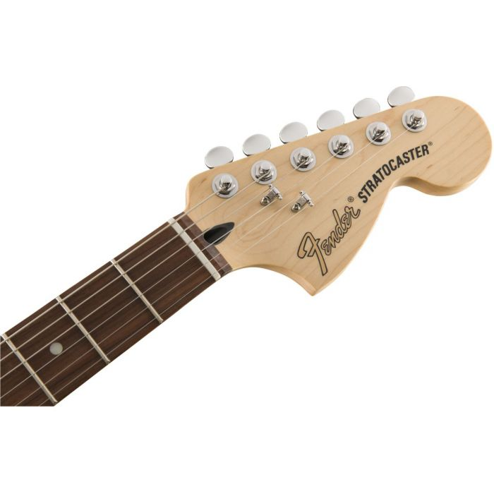 Front view of a Fender Deluxe Roadhouse Stratocaster headstock with Pau Ferro fretboard