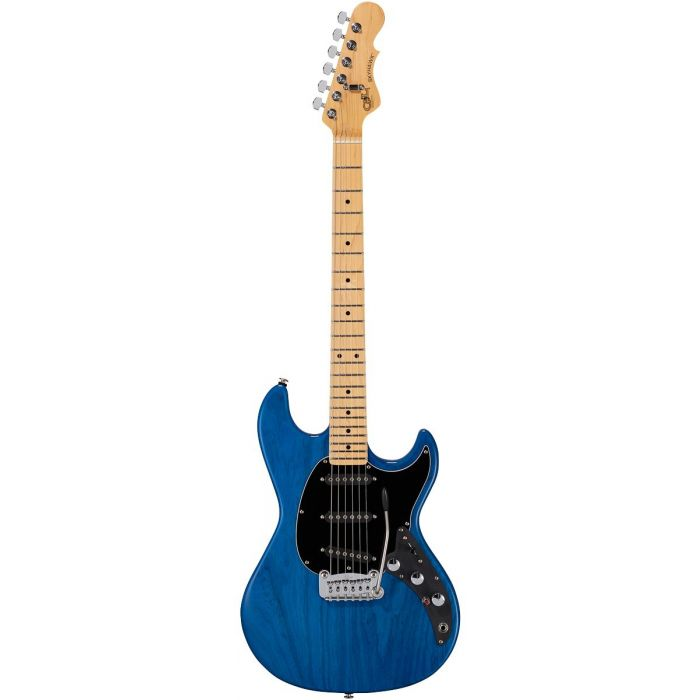 Full frontal image of a G&L CLF Research Skyhawk electric guitar, with a Clear Blue finish