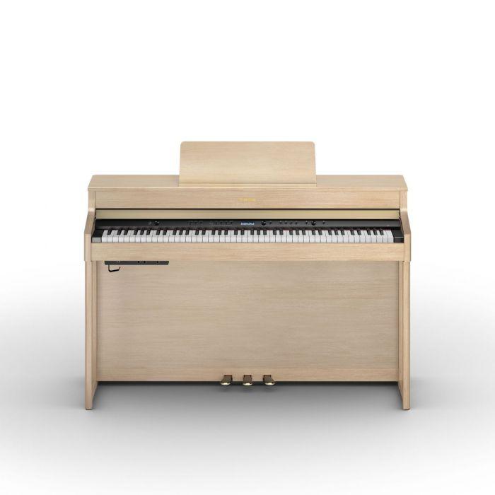 Roland HP702 Digital Piano Light Oak Open Lid