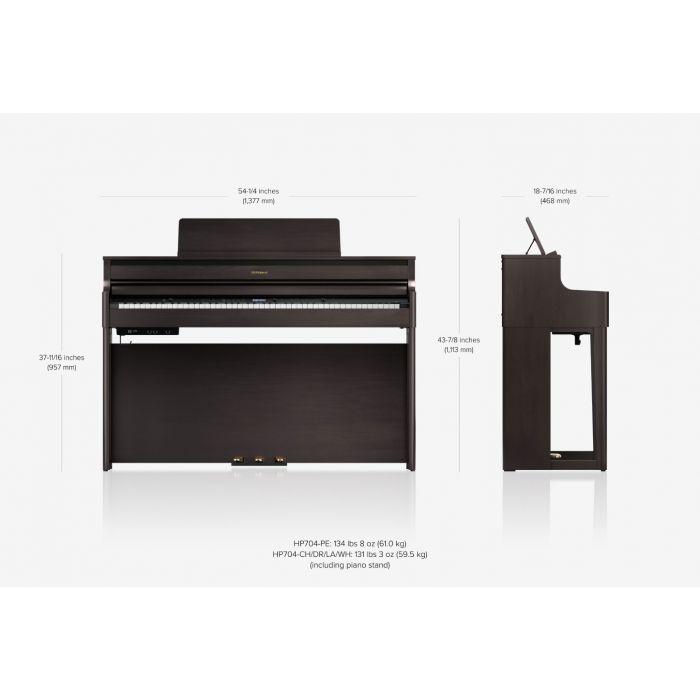 Roland HP704 Piano Dimensions
