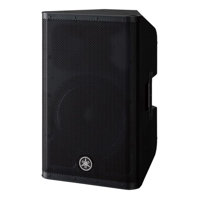 Front left-angled view of a Yamaha DXR12 MKII active loudspeaker