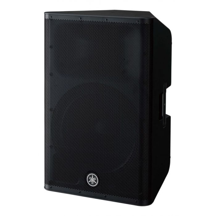 Front left-angled view of a Yamaha DXR15 MKII Active PA Speaker