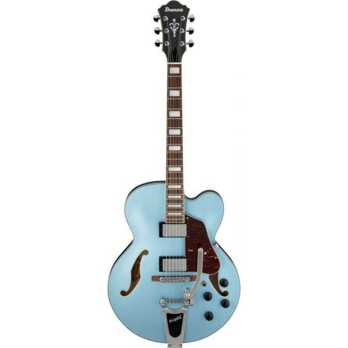 Frontal view of an Ibanez AFS74T semi hollow electric guitar with a Steel Blue Flat finish