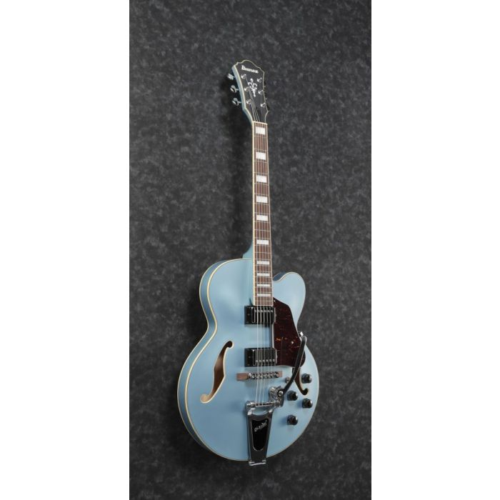 front angled finish of an Ibanez AFS74T semi hollow guitar in Steel Blue Flat