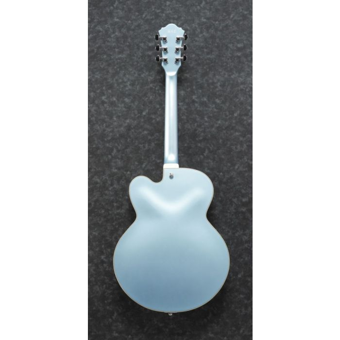Rear view of a Steel Blue Flat Ibanez AFS74T semi hollow electric guitar