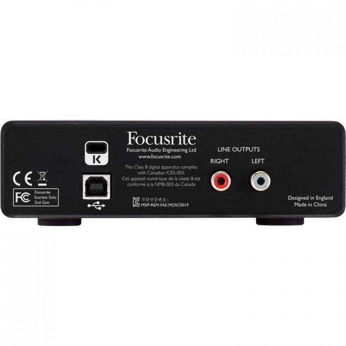 Focusrite Scarlett Solo Audio Interface Rear View